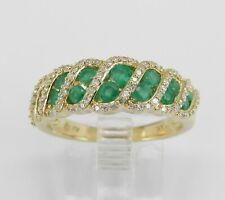 14k Oro Amarillo Diamante y Emerald Aniversario Banda Anillo Boda Tamaño 6.75