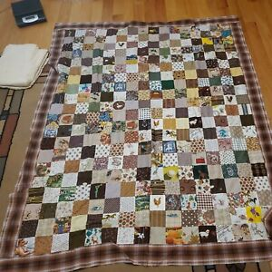 Vintage Patchwork Quilt Top - Unusual Picture Blocks with Backing
