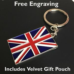 Personalised Union Jack Keyring | Engraved Free & Gift Bag Included