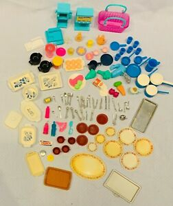 Barbie Kitchen Accessories Lot 111 Pieces! Silverware, Plates, Trays, Food, Pots