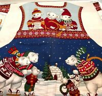 VTG Concord Holiday on Ice Vest Fabric Panel Cut & Sew Skating Bears Sz S - XL