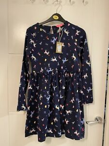Girls Bnwt Joules Navy Horse Pony Print Long Sleeved Dress Size 11-12 Years
