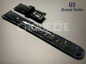 Genuine Grand Seiko 19mm Dark Blue Crocodile Leather Strap for GS SBGM031