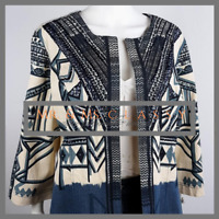 Chicos Womens Sz 2 US L/12 Blue & White Geometric Sequin Blazer Coat Jacket 2141