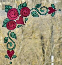 WICOART WINDOW COLOR STICKER CLING FAUX STAINED GLASS ART ANGLE ROSES ET CŒURS