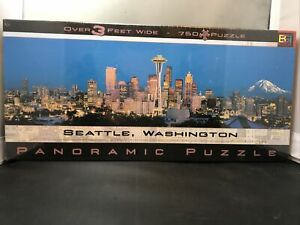 Seattle Washington Panoramic Puzzle 750+ Pieces Over 3 Feet Wide New Sealed (c2)