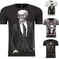 T-Shirt Angel Skull Slim-Fit Party Shirt S- XXL Disco Totenkopf Poloshirt Hemd