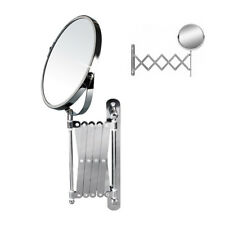 Round Bath Cosmetic Shaving Mirror Glass Rustproof Telescopic Magnifying UKDC