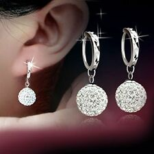 925 Sterling Silver Shamballa Ball Full Crystal Disco Ball Dangle Drop Earring
