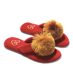 PETER ALEXANDER RED GOLD GLITTERY POM POM THONGS SLIPPERS SHOES L 9 - 10 $35.95