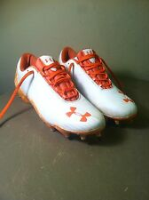 Mens Size 10.5 UNDER ARMOUR Micro-G Football Cleats Shoes Orange & White 4D Foam