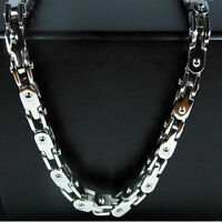 """8""""-36"""" Mens Jewelry Silver Stainless Steel 5mm Motorcycle Bike Chain Necklace"""