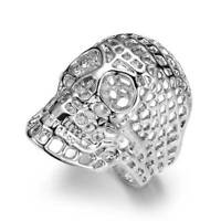 Fashion Men Silver Stainless Steel Hollow Out Skull Ring Punk Rock Party Ring