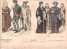 1880 Chromo Fashion print of 1400's English Nobility - Heinrich Vii and Vi