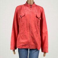 Chico's Animal Print Microfiber Faux Suede Zip Jacket 2 LARGE 12 14 Coral Pink