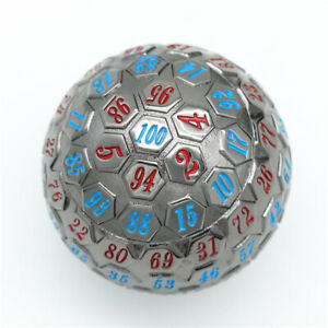 Black Metal Single 100 Sided Polyhedral Dice (D100) | Blue + Red Color (45mm)