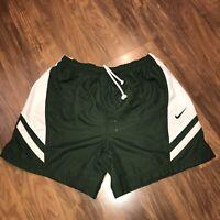 Vtg 90s Green White NIKE Swoosh Logo Mens MEDIUM Nylon Soccer Athletic shorts M