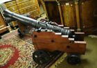 Pair French Cast Iron Wood Cannons Canon Gun Military