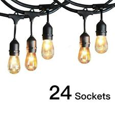 Commercial Weatherproof 48' FT Outdoor String Lights 24 Bulbs Party Patio Lights