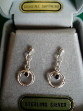 EARRINGS, 925 STERLING SILVER AND GENUINE SAPPHIRE DROP STUDS