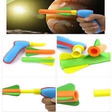 Soft Foam Rocket Flyer Air Pump Shooter Gun Launcher Outdoor Kids Child Toy Gift