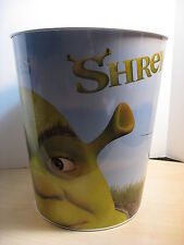 "Shrek 2 - Tin 10"" Wastebasket w/ Shrek, Donkey & Puss in Boots pictured 2004"