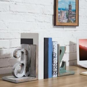 Shabby Chic Decorative Vintage White Blue Wood Alphabet Bookends Book Organizer