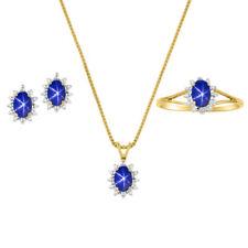 Blue Star Sapphire & Diamond Pendant, Earrings & Ring in 14K Yellow Gold