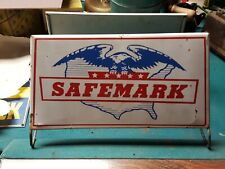 Red White Blue Safemark Tire Stand Sign Gas and Oil Eagle