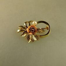 Schwäbisch Gmünd: Brosche Rose mit Perle 3 Straßsteine um 1965 (40889)