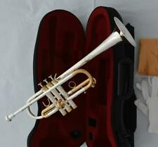 Silver Gold-Plated Professional new C Trumpet Horn Monel Valves With Hard Case