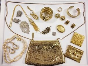 GORGEOUS Vintage Jewelry+ LOT Whiting Davis Art Crown Trifari Alfred Philippe+