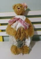 HANDMADE TEDDY BEAR GIRL CARRYING BUNNY - WHITE DRESS FLOWERS BEHIND EAR 40CM