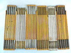 Vintage Tools Folding Wood Extension Measures Yardsticks Rulers ~ Lot of 6