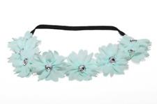 Lux Fabric Flower Rhinestone Stretch Headband Chiffon Floral Head Band