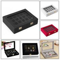 24Grid Velvet Glass Jewellery Ring Display Case Tray Holder Earring Storage Box
