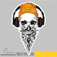 Beard Skull Moustache Hipster Orang Vinyl Sticker Decal Window Car Van Bike 2853