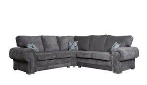 Verona Grey Fabric Corner, 3 Seater, 2 Seater & Armchair | FORMAL/FIXED BACK
