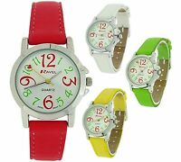 Ravel Ladies Girls PU Coloured Buckle Strap White Dial Watch Xmas Gift For Her