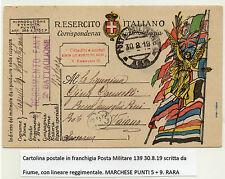 STORIA POSTALE 1919 REGNO CARTOLINA POSTA MILITARE IN FRANCHIGIA Z/2666