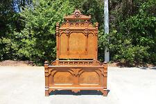 Spectacular Ornate Tall Burl Walnut Victorian Aesthetic Period Bed ~Ca.1880