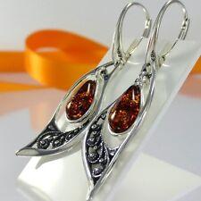 A222 Lange Ohrringe 925 Silber Schmuck baltischer Bernstein Amber Jugendstil Neu