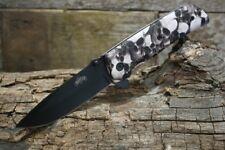 Master USA Spring Assisted Tactial Skull Design Pocket Knife Black Blade New MU-