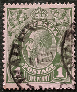 Stamp Australia SG76 1924 1d King George V Crown over A green Used