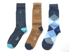 Original Penguin Mens Gold/ Blue Polka Dot Diamond Check Sock Gift Box - 3 Pack