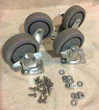 """Qty 4 Grey Rubber Plate Casters 4"""" with Brake - Very Good, with Screws"""