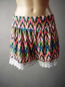 Bright Neon Colorful Ikat Psychedelic 60s 70s Hippie Boho 241 mv Shorts S M L XL