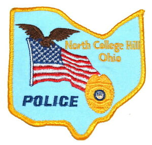 NORTH COLLEGE HILL OHIO OH Sheriff Police Patch (STATE SHAPE) AA24