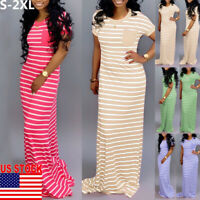 US Plus Size Women's Cotton Summer Short Sleeve Long T-Shirt Ladies Casual Dress