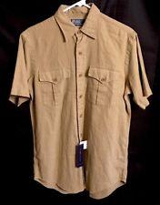 Polo Ralph Lauren Linen Blend Shirt Button Up Short Sleeve Tan Size Small - NEW